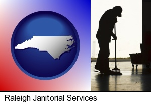 Raleigh, North Carolina - a janitor silhouette