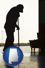 alabama map icon and a janitor silhouette