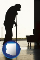 arizona map icon and a janitor silhouette