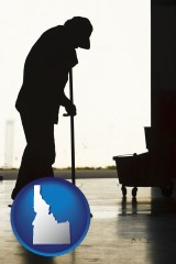 idaho map icon and a janitor silhouette