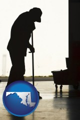 maryland map icon and a janitor silhouette