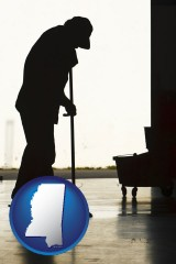 mississippi map icon and a janitor silhouette
