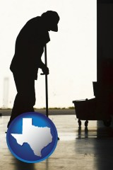 texas map icon and a janitor silhouette