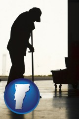 vermont map icon and a janitor silhouette