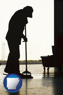 a janitor silhouette - with Arkansas icon