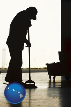 a janitor silhouette - with Hawaii icon