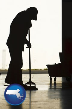 a janitor silhouette - with Massachusetts icon