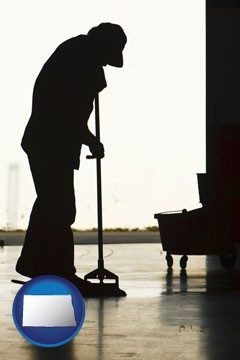 a janitor silhouette - with North Dakota icon