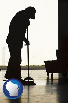 a janitor silhouette - with Wisconsin icon